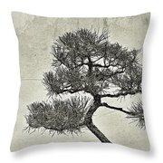 Black Pine Bonsai In Monochrome Throw Pillow