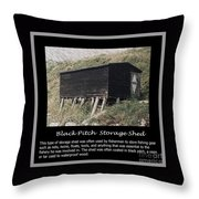 Black Pitch Storage Shed Throw Pillow