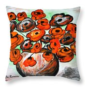 Black Poppies Throw Pillow by Ramona Matei