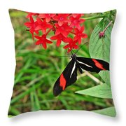 Black Red And White Butterfly Throw Pillow