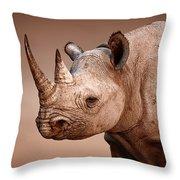 Black Rhinoceros Portrait Throw Pillow by Johan Swanepoel