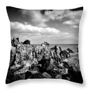 Black Rocks 3 Throw Pillow by Joseph Amaral