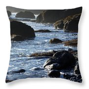 Black Rocks And Sea  Throw Pillow