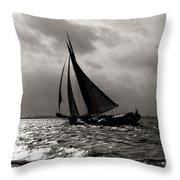 Black Sail Sunset Throw Pillow