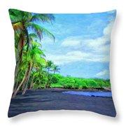 Black Sand Beach At Punaluu Throw Pillow