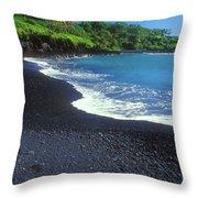 Black Sand Beach Hana Maui Hawaii Throw Pillow