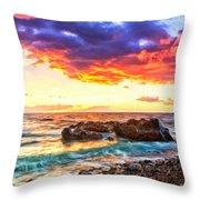 Black Sand Sunset Throw Pillow
