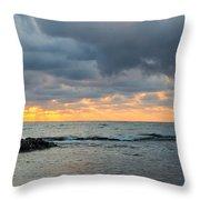 Black Sea Sunrise Before Storm Throw Pillow