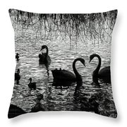 Black Swan Silhouette Throw Pillow