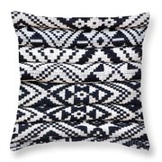 Black Thai Fabric 02 Throw Pillow