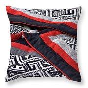 Black Thai Fabric 04 Throw Pillow