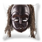 Black Tribal Face Mask On Isolated On White Throw Pillow
