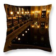 Black Water Golden Lights Throw Pillow
