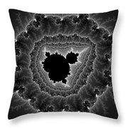 Black White And Grey Mandelbrot Fractal Art Throw Pillow