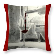 Black White And Red Wine Throw Pillow