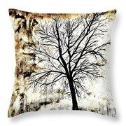 Black White And Sepia Tones Silhouette Tree Painting Throw Pillow