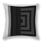Black White Gray Square Geometric Throw Pillow