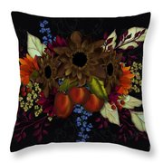Black With Flowers And Fruit Throw Pillow