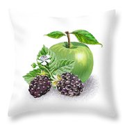 Blackberries And Green Apple Throw Pillow