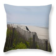 Blackbird On A Fence On The Beach Throw Pillow by Bill Cannon