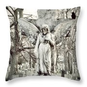 Blackbird On Angel Cross Throw Pillow