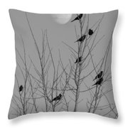 Blackbirds By The Moon Throw Pillow