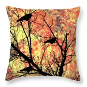 Blackbirds In A Tree Throw Pillow