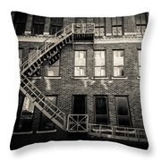 Blackened Fire Escape Throw Pillow