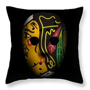 Blackhawks Goalie Mask Throw Pillow