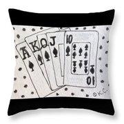 Blackjack Black And White Throw Pillow