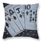 Blackjack Hand Throw Pillow