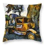 Blackjack Winery Truck Santa Ynez California Throw Pillow