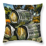 Blackjack Winery Wine Barrels Throw Pillow