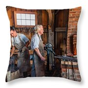 Blacksmith And Apprentice 2 Throw Pillow