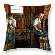 Blacksmith And Apprentice Throw Pillow