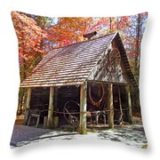Blacksmith Shop In The Fall Throw Pillow
