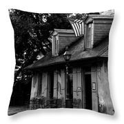 Blacksmith Shop On A Rainy Day Bw Throw Pillow
