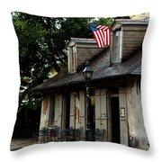 Blacksmith Shop On A Rainy Day Throw Pillow