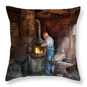 Blacksmith - The Importance Of The Blacksmith Throw Pillow by Mike Savad