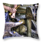 Blacksmith Working Iron V1 Throw Pillow