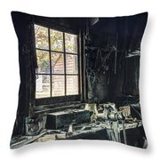 Blacksmiths Workbench - One October Afternoon Throw Pillow