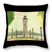 Blackwell Island Lighthouse Ny Chart Map Art Throw Pillow