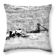 Black And White Of Old Farm Equipment Throw Pillow