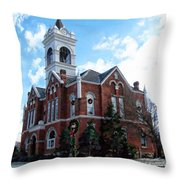 Blairsville Courthouse At Christmas Throw Pillow