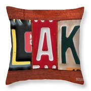 Blake License Plate Name Sign Fun Kid Room Decor Throw Pillow
