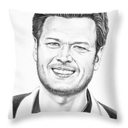 Blake Shelton Throw Pillow by Murphy Elliott