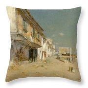 Blanes Beach Throw Pillow