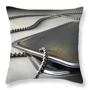 Blank Identity Dog Tags Dramatic Throw Pillow
