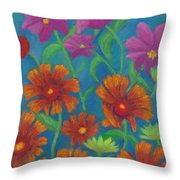 Blanket Flowers And Cosmos Throw Pillow
