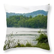 Blanket Of Fog On Clinch River  Throw Pillow